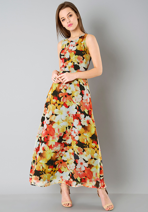 Abstract Floral Classic Maxi Dress