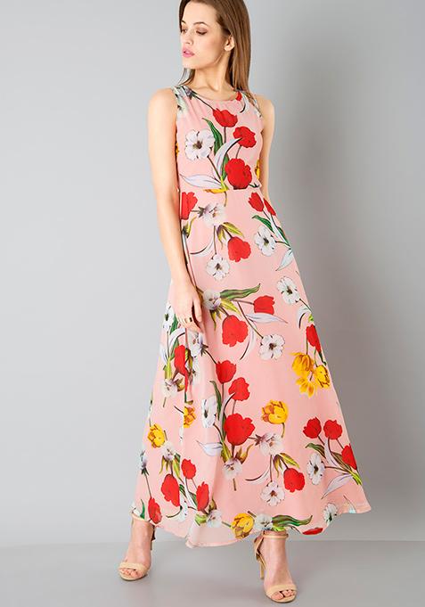 Pink Floral Classic Maxi Dress