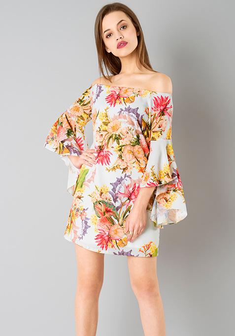 Flutter Sleeve Dress - White Floral