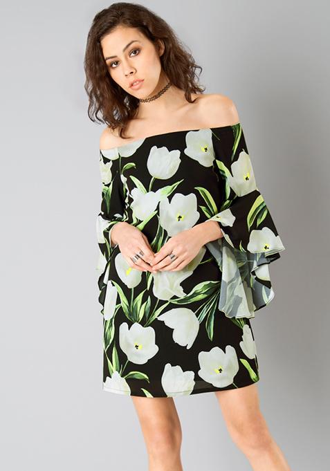 Flutter Sleeve Dress - Black Floral