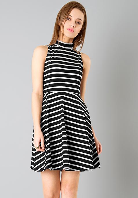 High Neck Skater Dress - Stripes