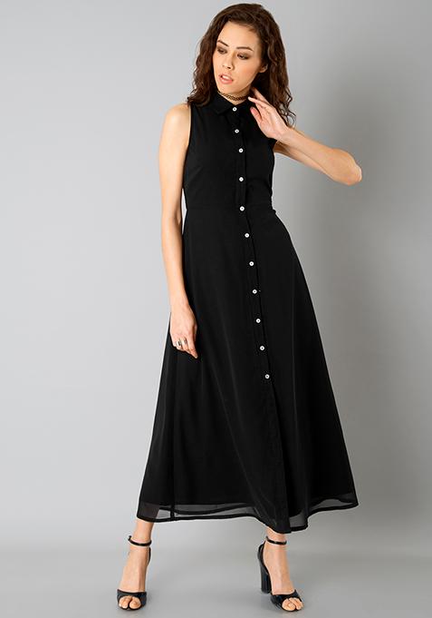 Buttoned Shirt Maxi Dress - Black