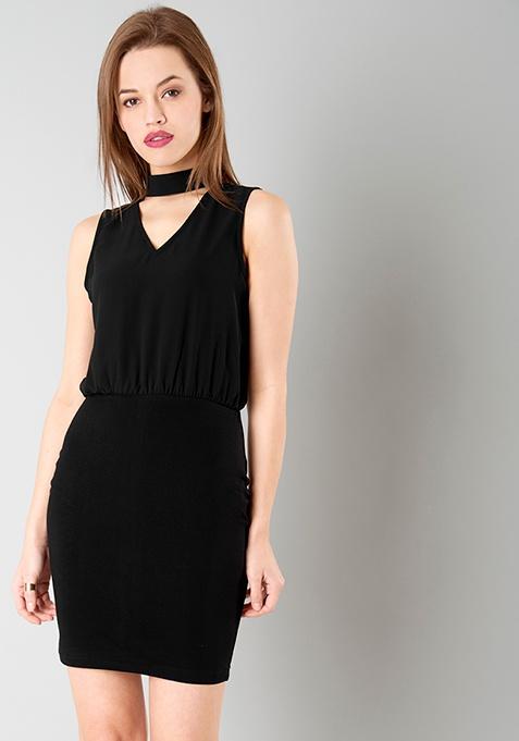 Choker Blouson Dress - Black