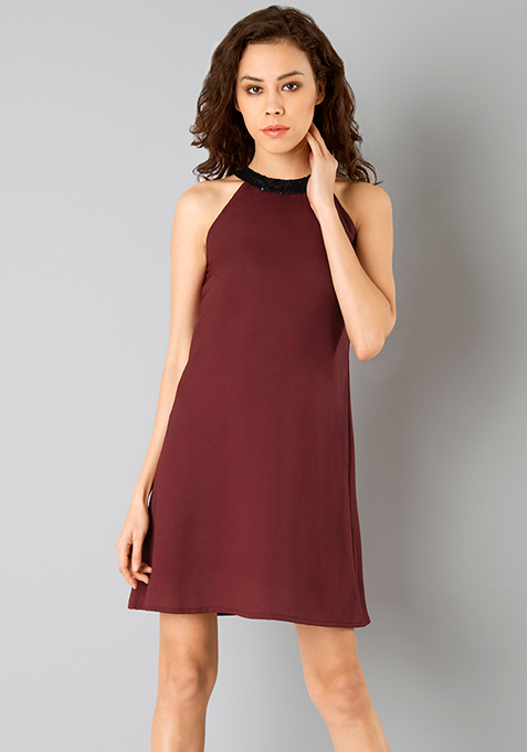 Sequin Neck Shift Dress - Oxblood