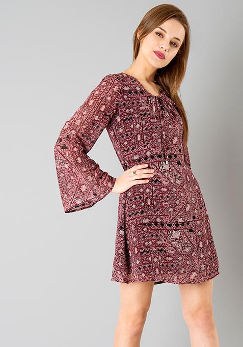 Pink Aztec Bell Sleeve Dress