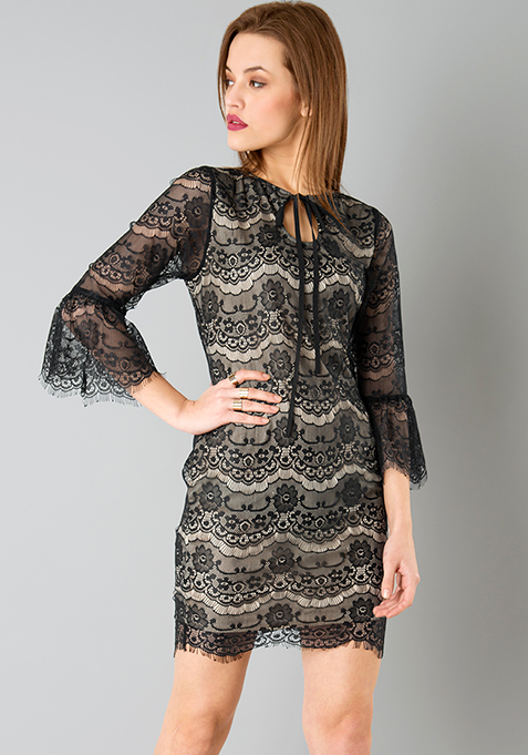 Eyelash Lace Flounced Dress - Black