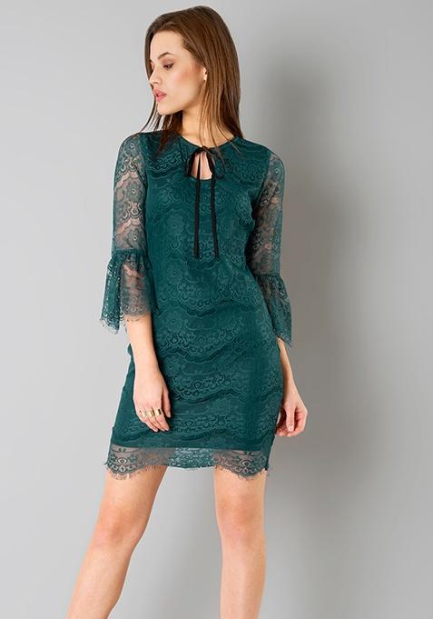 Eyelash Lace Flounced Dress - Teal