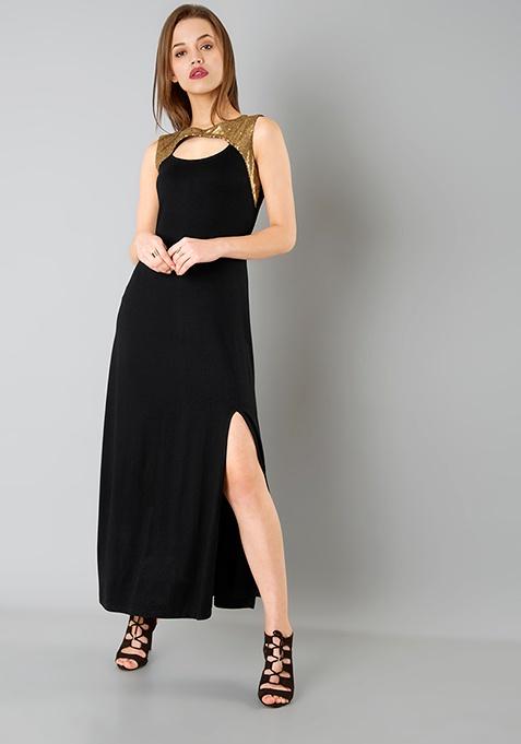 Peek-a-boo Sequin Maxi Dress - Black