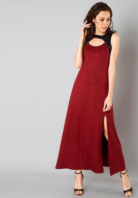 Peek-a-boo Sequin Maxi Dress - Oxblood