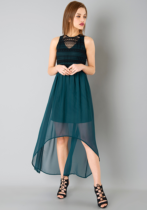Lace High Low Dress - Teal