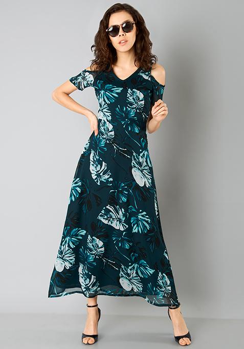 Teal Floral Cold Shoulder Maxi Dress