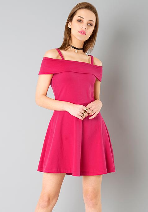 Cold Shoulder Skater Dress - Pink