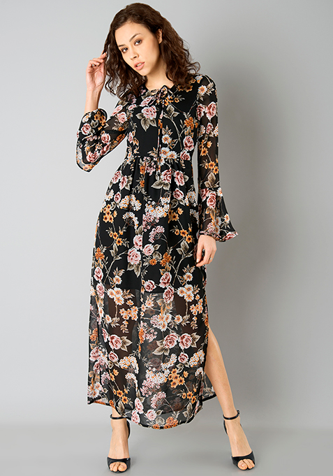 Bell Sleeve Maxi Dress - Black Floral