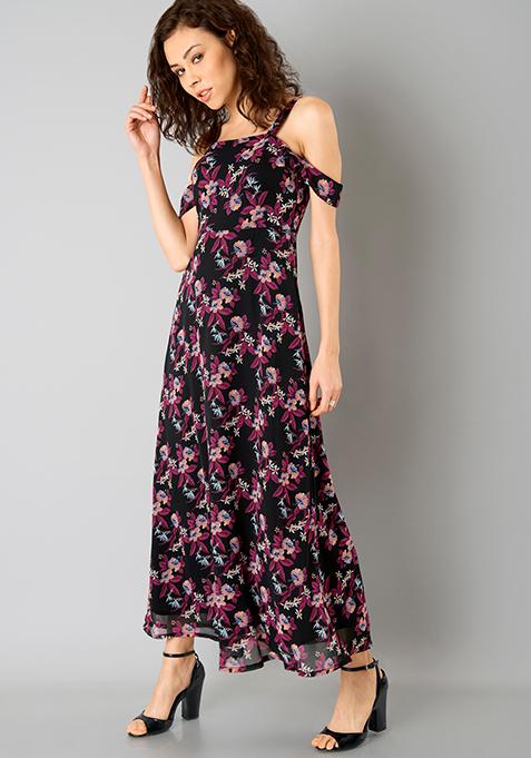 Drop Shoulder Maxi Dress - Black Floral
