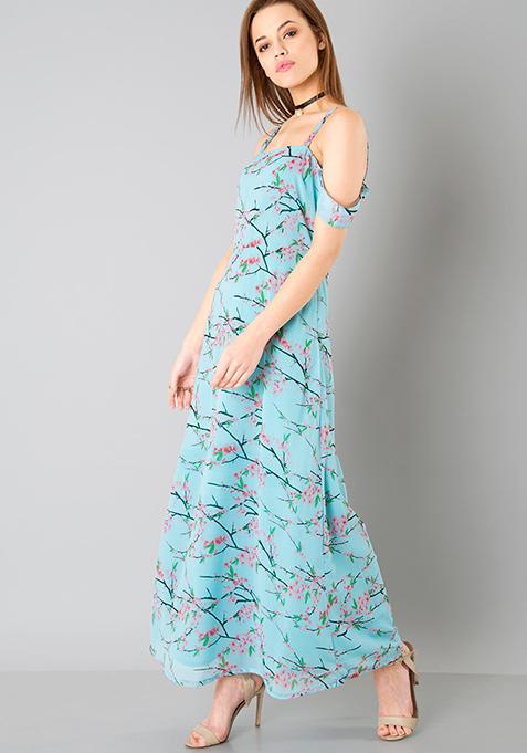Drop Shoulder Maxi Dress - Aqua Floral