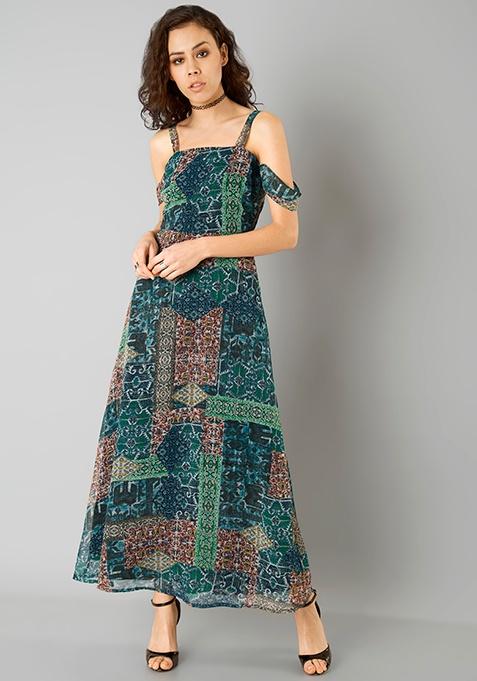Drop Shoulder Maxi Dress - Mosaic