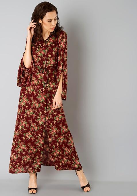 Slit Shirt Maxi Dress - Oxblood Floral