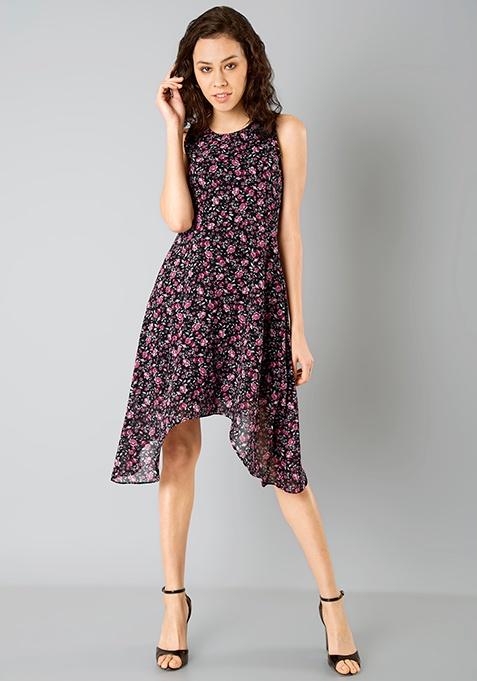 Handkerchief Hem Dress - Black Floral