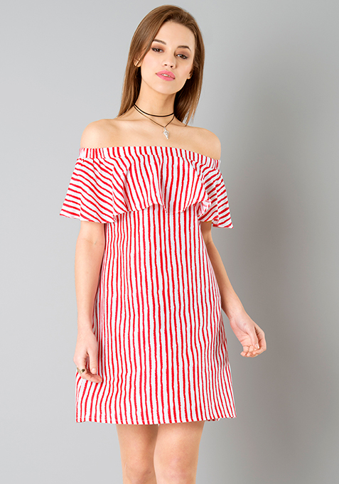 Ruffled Bardot Dress - Red Stripes