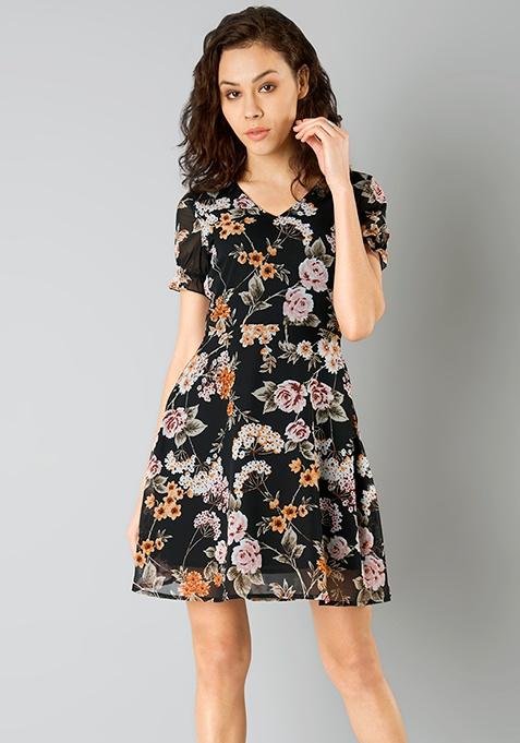 Spring Floral Skater Dress