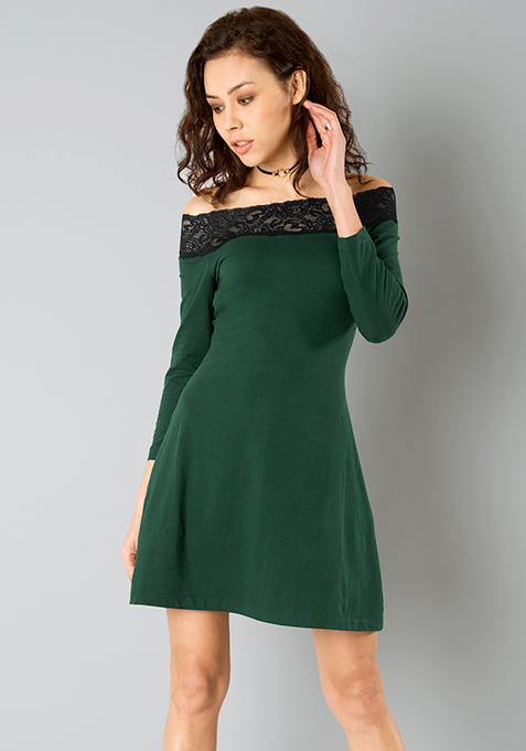Off Shoulder Lace Jersey Dress - Green
