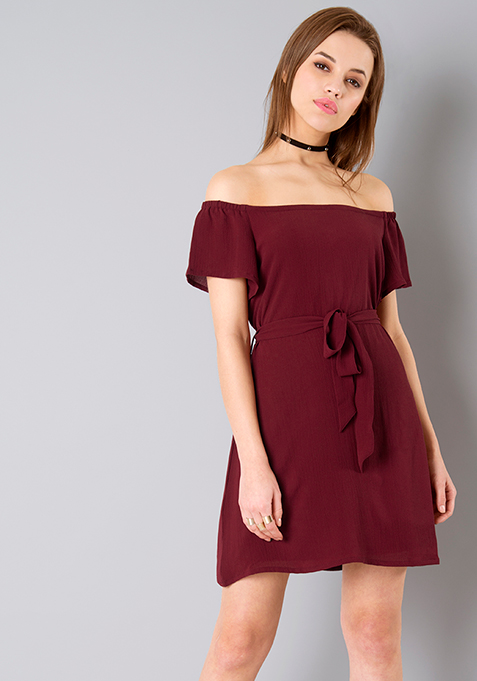 Belted Off Shoulder Dress - Oxblood