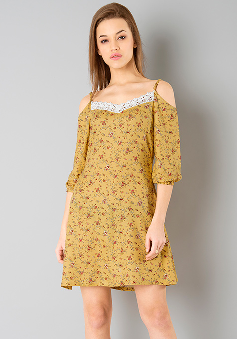 Cold Shoulder Skater Dress - Yellow Floral