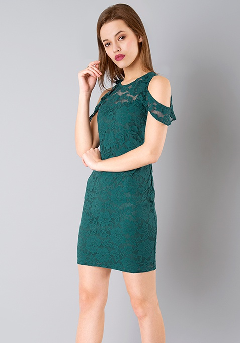 Drop Shoulder Lace Bodycon Dress - Teal