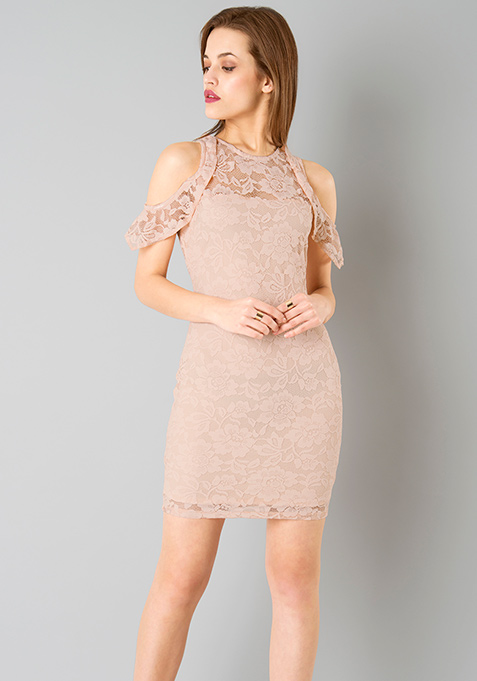 Ruffled Sleeve Lace Dress - Blush