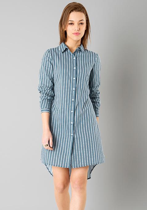 Navy Stripes Shirt Dress