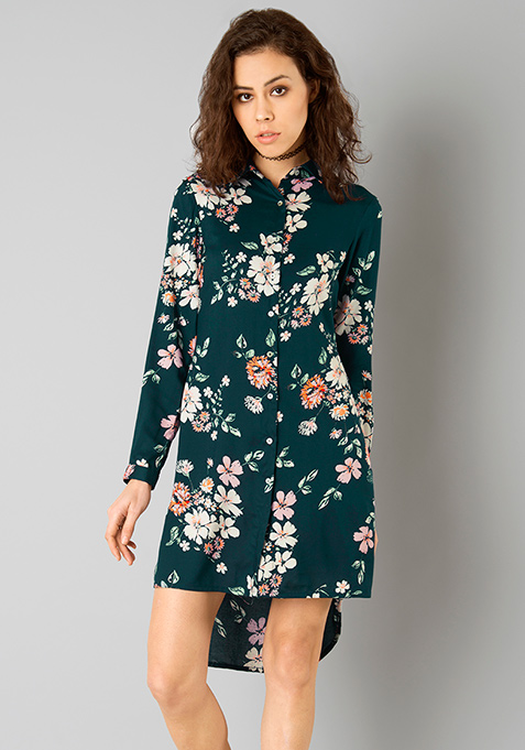 Teal Floral Shirt Dress