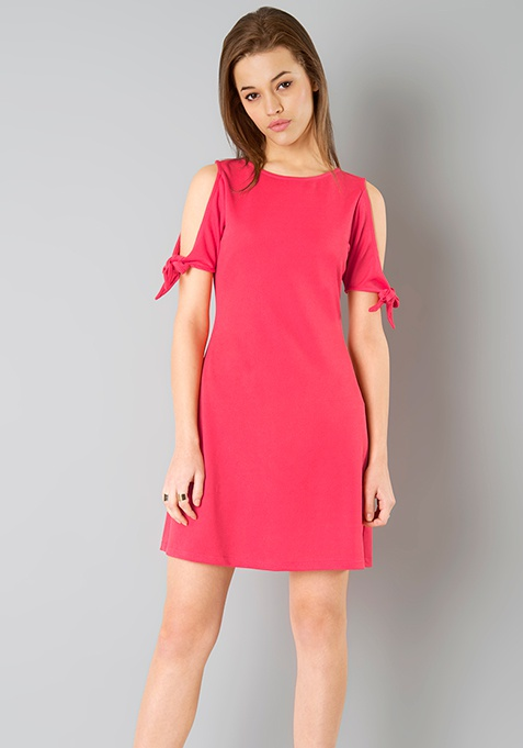Tie Sleeve Skater Dress - Coral