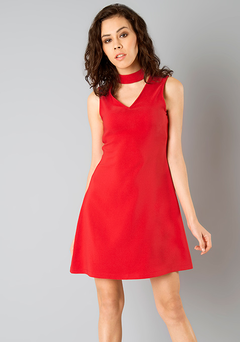 Choker A-Line Dress - Red