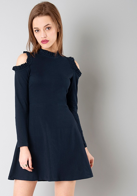 Cold Shoulder Mini Dress - Navy