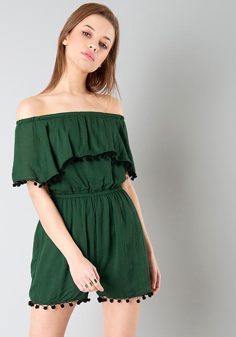 Off Shoulder Ruffled Playsuit - Dark Green