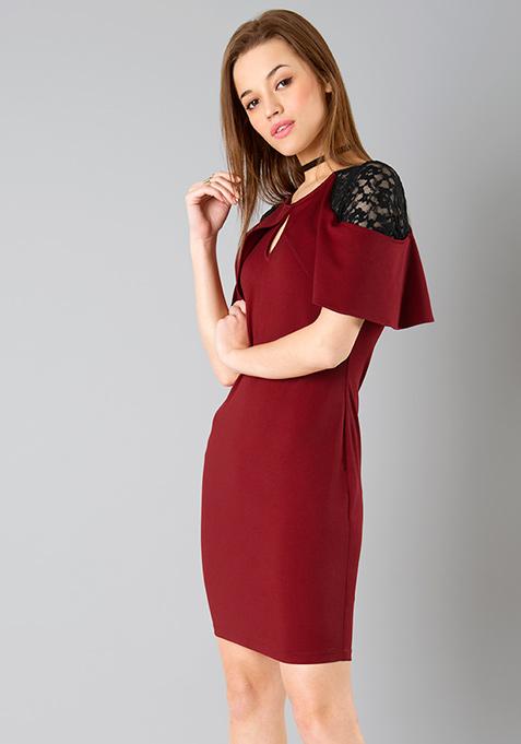 Lace Sleeve Bodycon Dress - Maroon