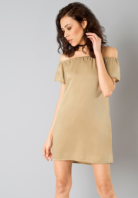 Bardot Satin Shift Dress - Gold