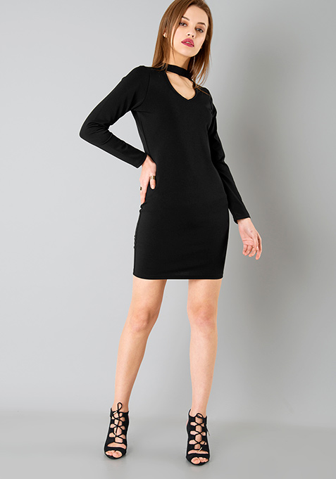 Choker Bodycon Dress - Black