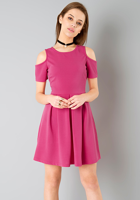 Fuchsia Cold Shoulder Skater Dress