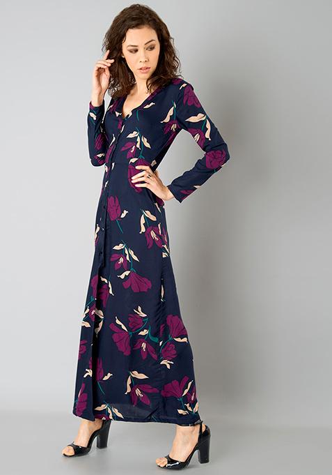 Floral Shirt Maxi Dress - Navy