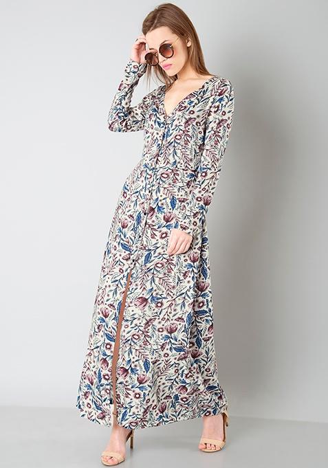 Floral Shirt Maxi Dress - White
