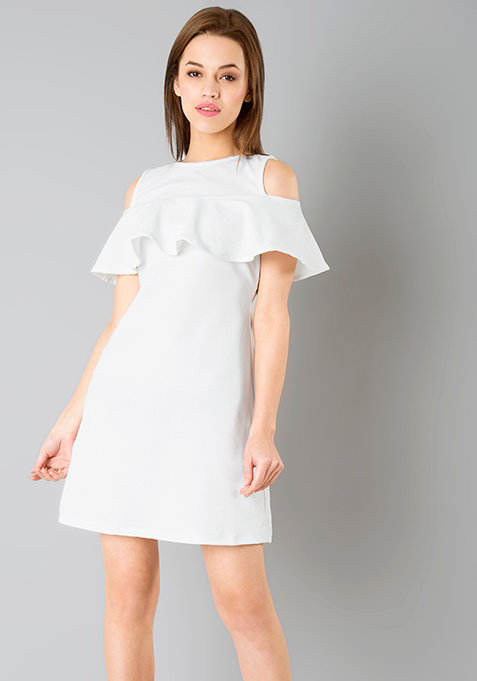 Ruffled Cold Shoulder Dress - White