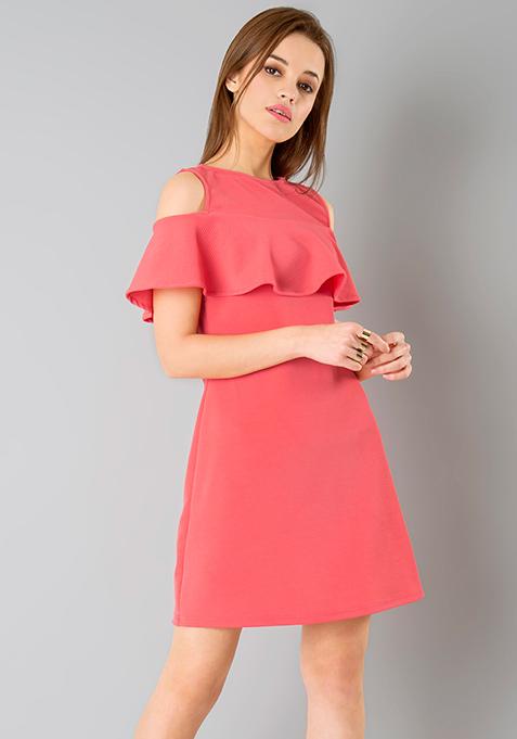 Ruffled Cold Shoulder Dress - Coral