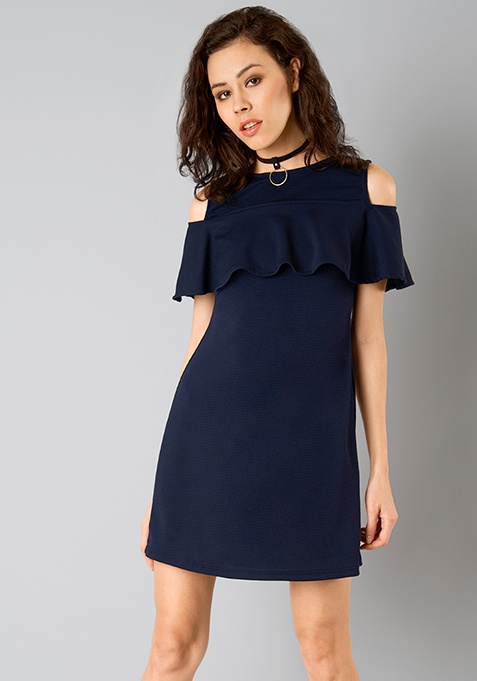 Ruffled Cold Shoulder Dress - Navy