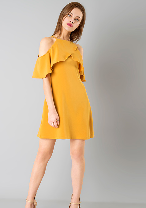 Ruffled Up A-Line Dress - Mustard