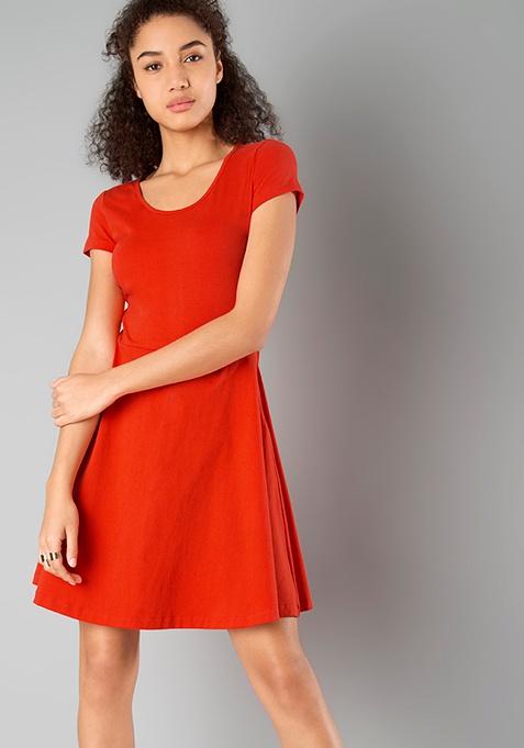 BASICS Skater Dress - Orange