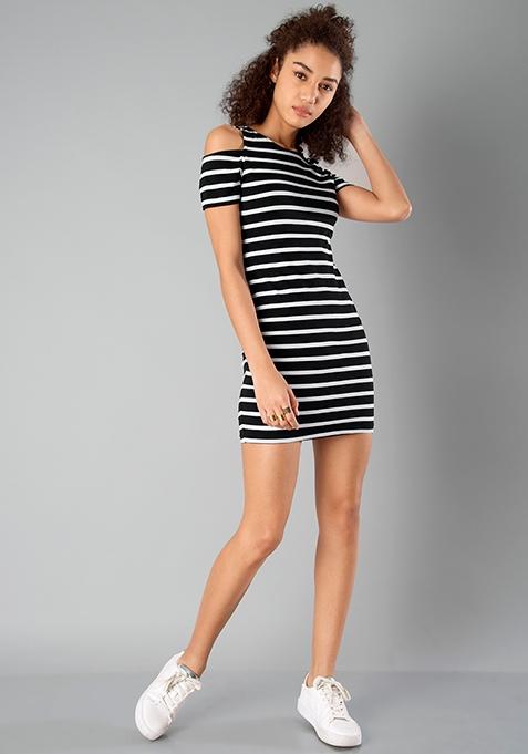 BASICS Cold Shoulder Bodycon Dress - Stripes