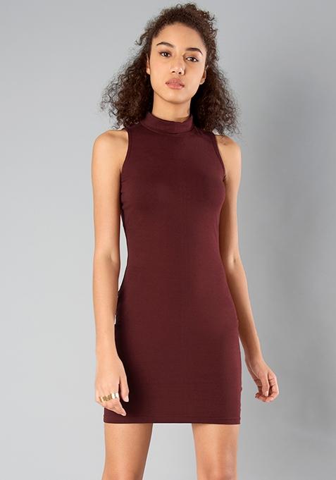 BASICS High On Bodycon Dress - Oxblood