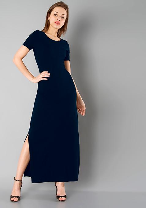 BASICS Slit Sass Maxi Dress - Navy