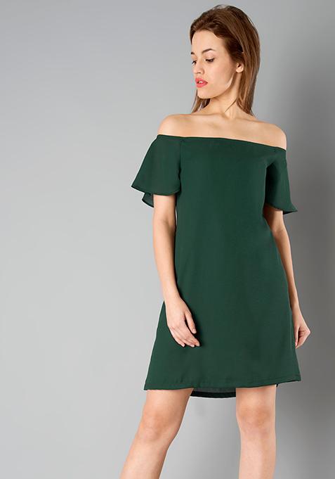 BASICS Bardot Dress - Green